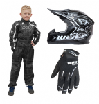 Wulfsport Kids MX Set Black Helmet Suit & Gloves